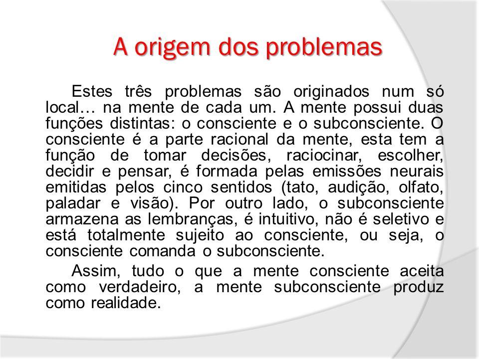 A origem dos problemas Estes três problemas são originados num só local… na mente de cada um. A mente possui duas funções distintas: o consciente e o