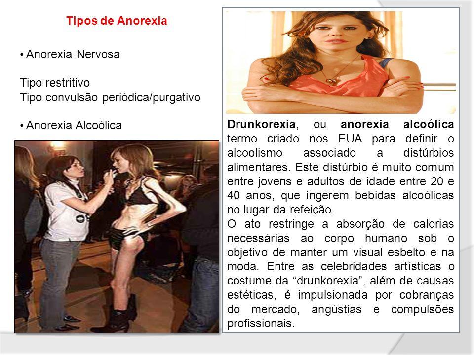 Drunkorexia, ou anorexia alcoólica termo criado nos EUA para definir o alcoolismo associado a distúrbios alimentares. Este distúrbio é muito comum ent