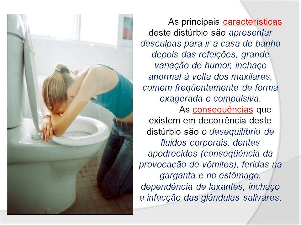 As principais características deste distúrbio são apresentar desculpas para ir a casa de banho depois das refeições, grande variação de humor, inchaço