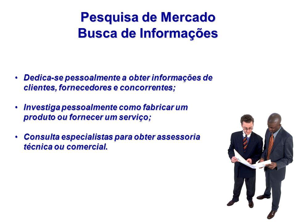 Pesquisa de Mercado Busca de Informações Dedica-se pessoalmente a obter informações de clientes, fornecedores e concorrentes;Dedica-se pessoalmente a
