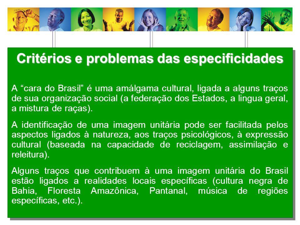 Critérios e problemas das especificidades A cara do Brasil é uma amálgama cultural, ligada a alguns traços de sua organização social (a federação dos