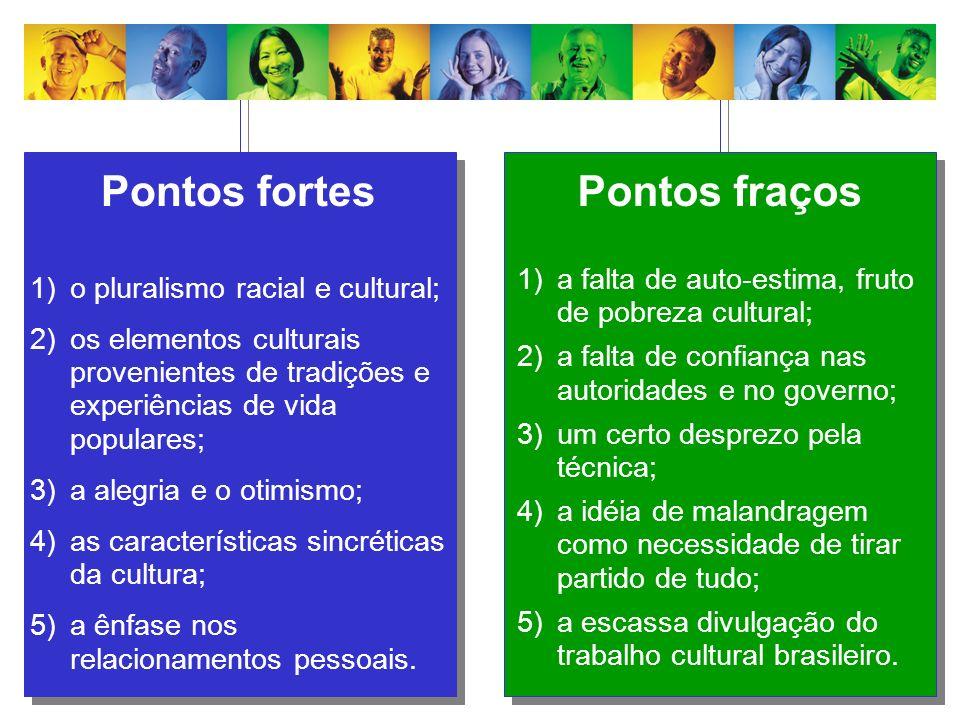 Pontos fortes 1)o pluralismo racial e cultural; 2)os elementos culturais provenientes de tradições e experiências de vida populares; 3)a alegria e o o