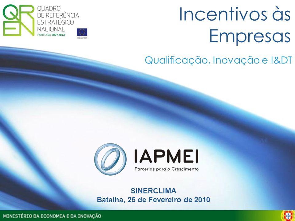 Incentivos às Empresas SINERCLIMA Batalha, 25 de Fevereiro de 2010 Qualificação, Inovação e I&DT