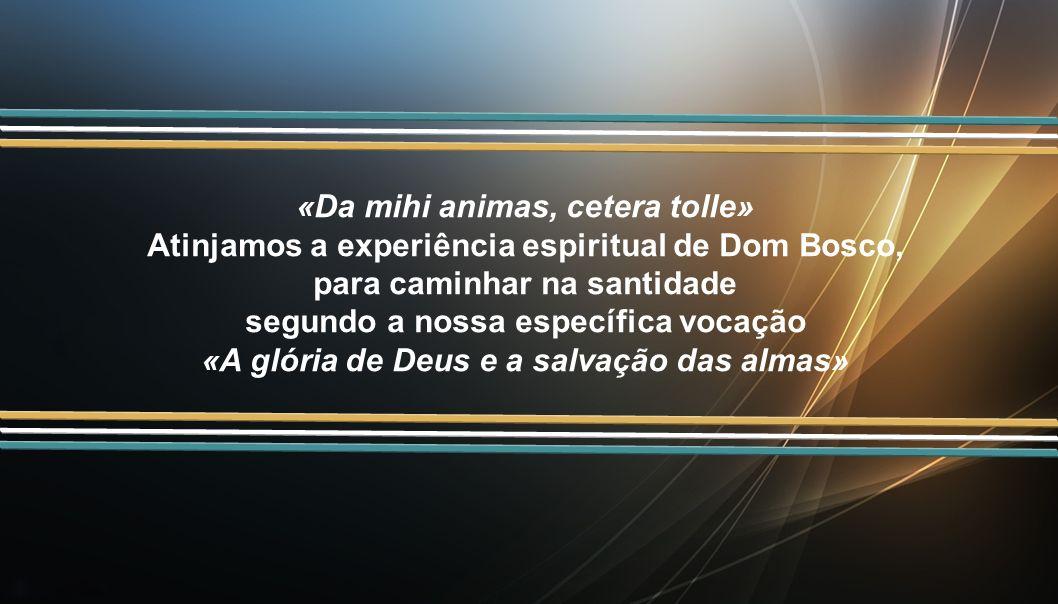 «Da mihi animas, cetera tolle» Atinjamos a experiência espiritual de Dom Bosco, para caminhar na santidade segundo a nossa específica vocação «A glória de Deus e a salvação das almas»