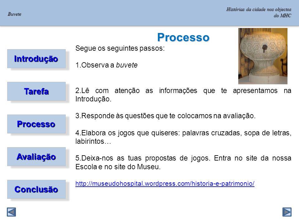 Introdução Tarefa Processo Avaliação Conclusão Processo Segue os seguintes passos: 1.Observa a buvete 2.Lê com atenção as informações que te apresenta
