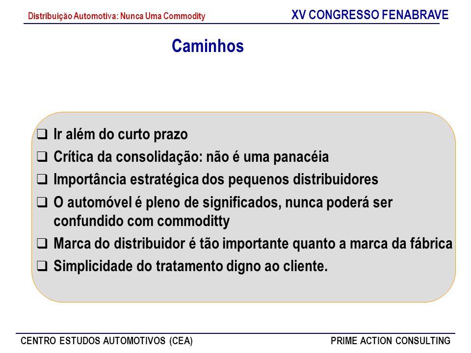 XV CONGRESSO FENABRAVE CENTRO ESTUDOS AUTOMOTIVOS (CEA)PRIME ACTION CONSULTING Distribuição Automotiva: Nunca Uma Commodity Caminhos Ir além do curto