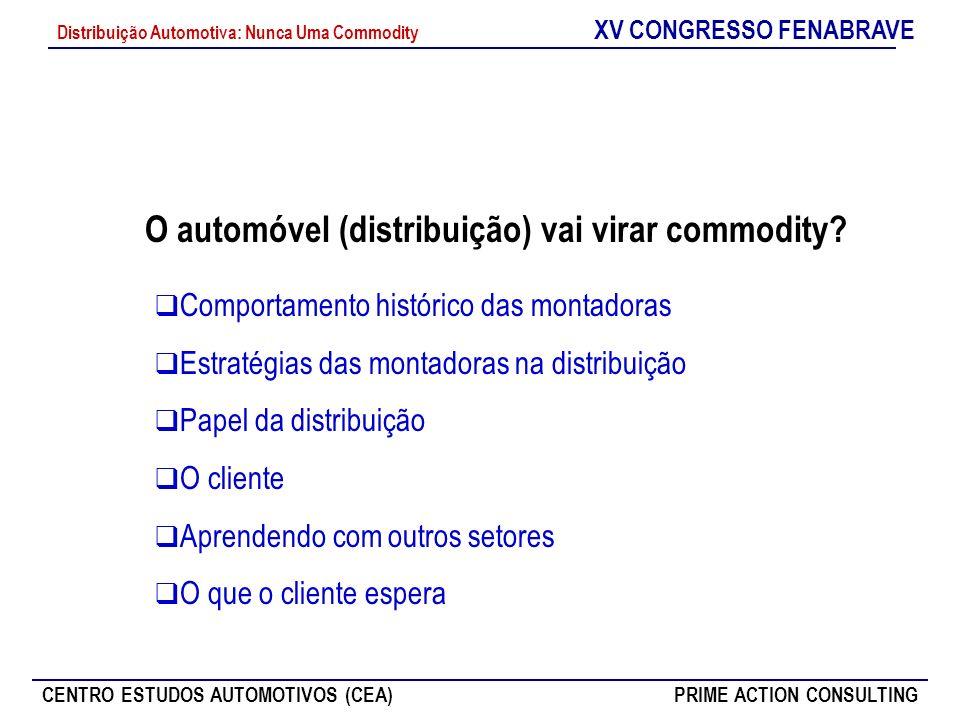 XV CONGRESSO FENABRAVE CENTRO ESTUDOS AUTOMOTIVOS (CEA)PRIME ACTION CONSULTING Distribuição Automotiva: Nunca Uma Commodity O automóvel (distribuição)