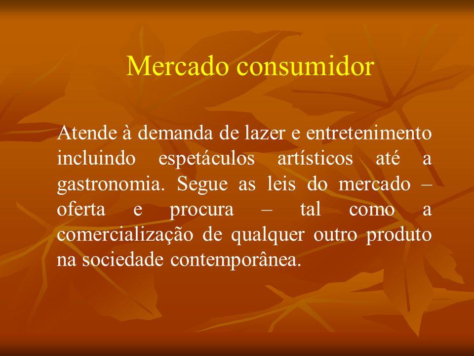 Mercado consumidor Atende à demanda de lazer e entretenimento incluindo espetáculos artísticos até a gastronomia.