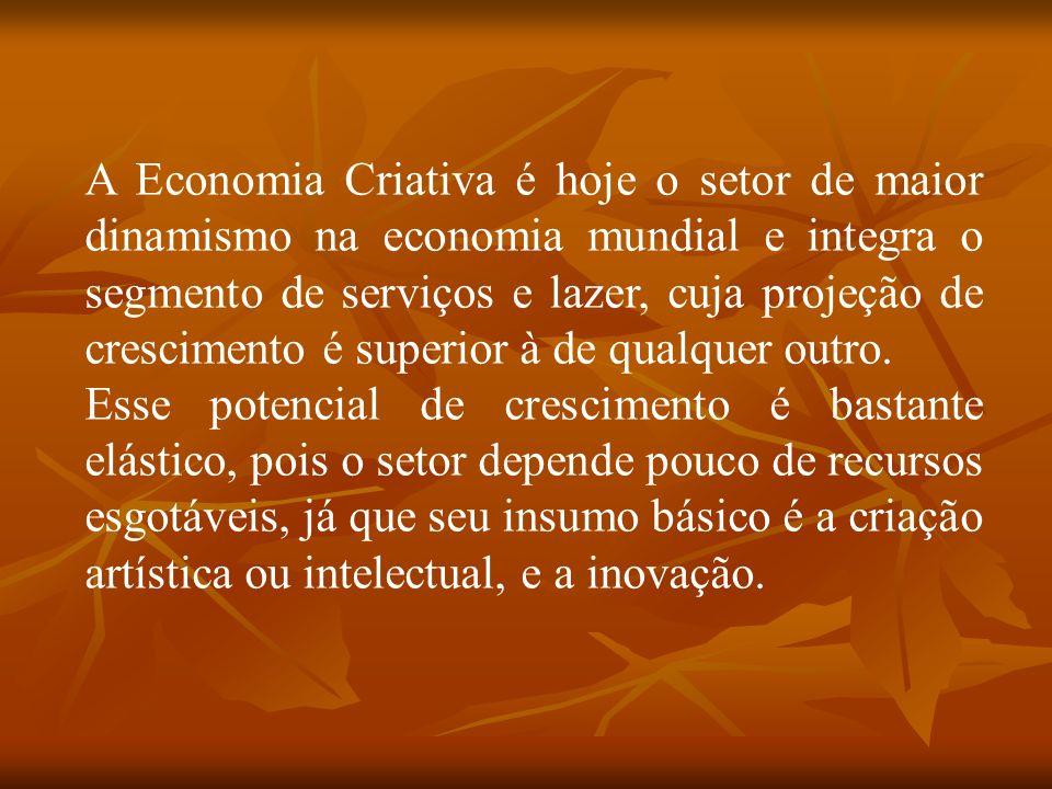 A Economia Criativa é hoje o setor de maior dinamismo na economia mundial e integra o segmento de serviços e lazer, cuja projeção de crescimento é superior à de qualquer outro.
