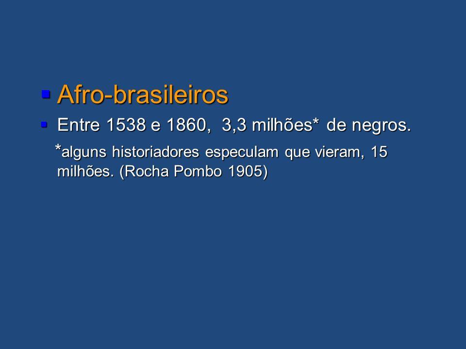 Afro-brasileiros Afro-brasileiros Entre 1538 e 1860, 3,3 milhões* de negros. Entre 1538 e 1860, 3,3 milhões* de negros. * alguns historiadores especul