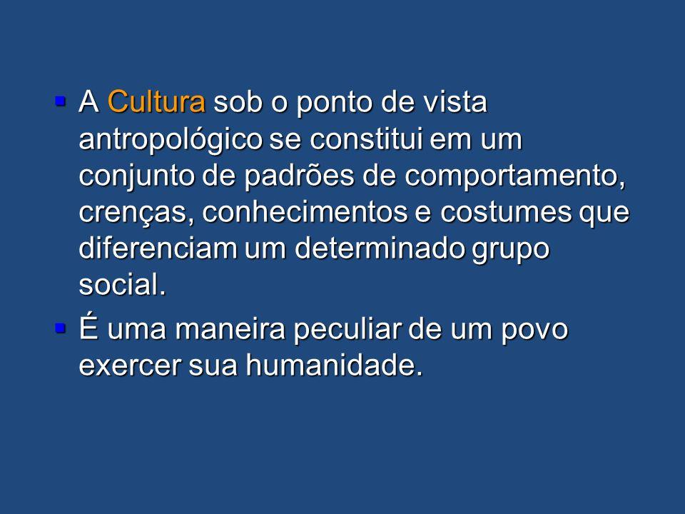A Cultura sob o ponto de vista antropológico se constitui em um conjunto de padrões de comportamento, crenças, conhecimentos e costumes que diferencia