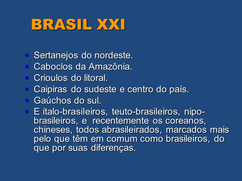 BRASIL XXI Sertanejos do nordeste. Sertanejos do nordeste. Caboclos da Amazônia. Caboclos da Amazônia. Crioulos do litoral. Crioulos do litoral. Caipi