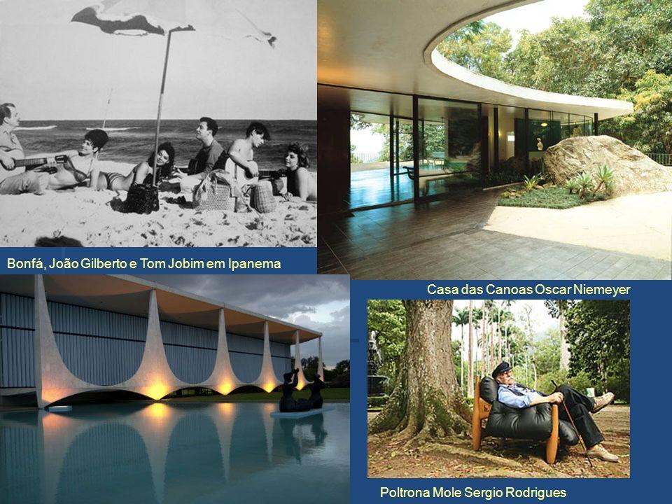 Bonfá, João Gilberto e Tom Jobim em Ipanema Casa das Canoas Oscar Niemeyer Poltrona Mole Sergio Rodrigues