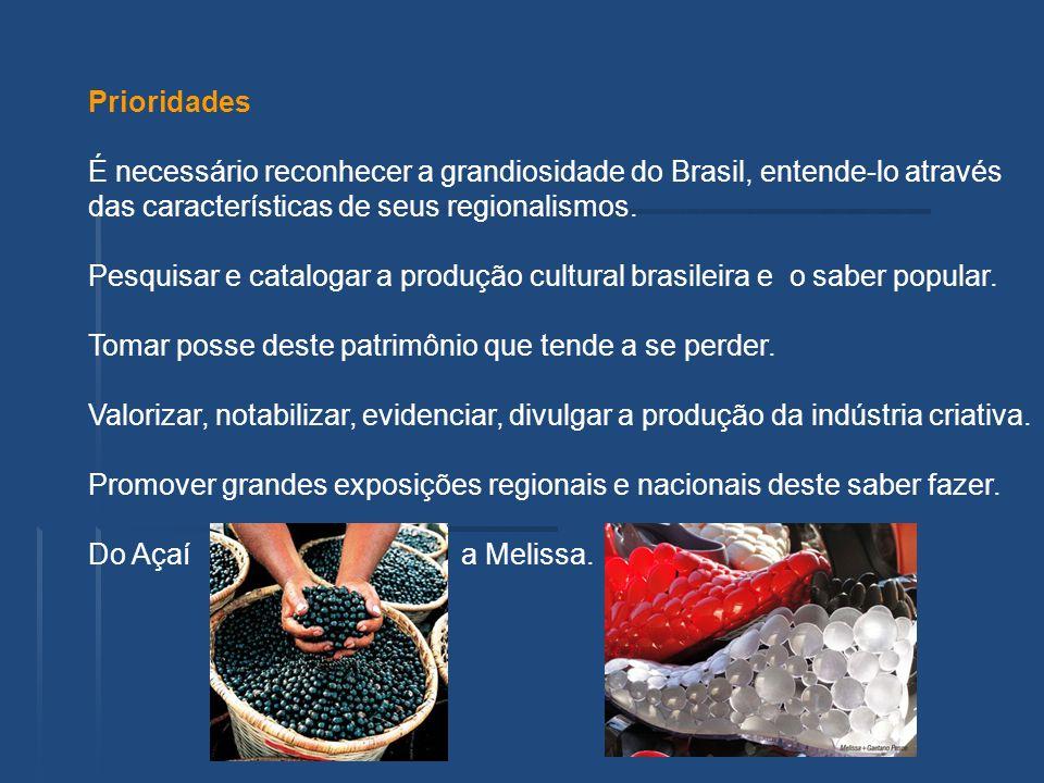 Prioridades É necessário reconhecer a grandiosidade do Brasil, entende-lo através das características de seus regionalismos. Pesquisar e catalogar a p