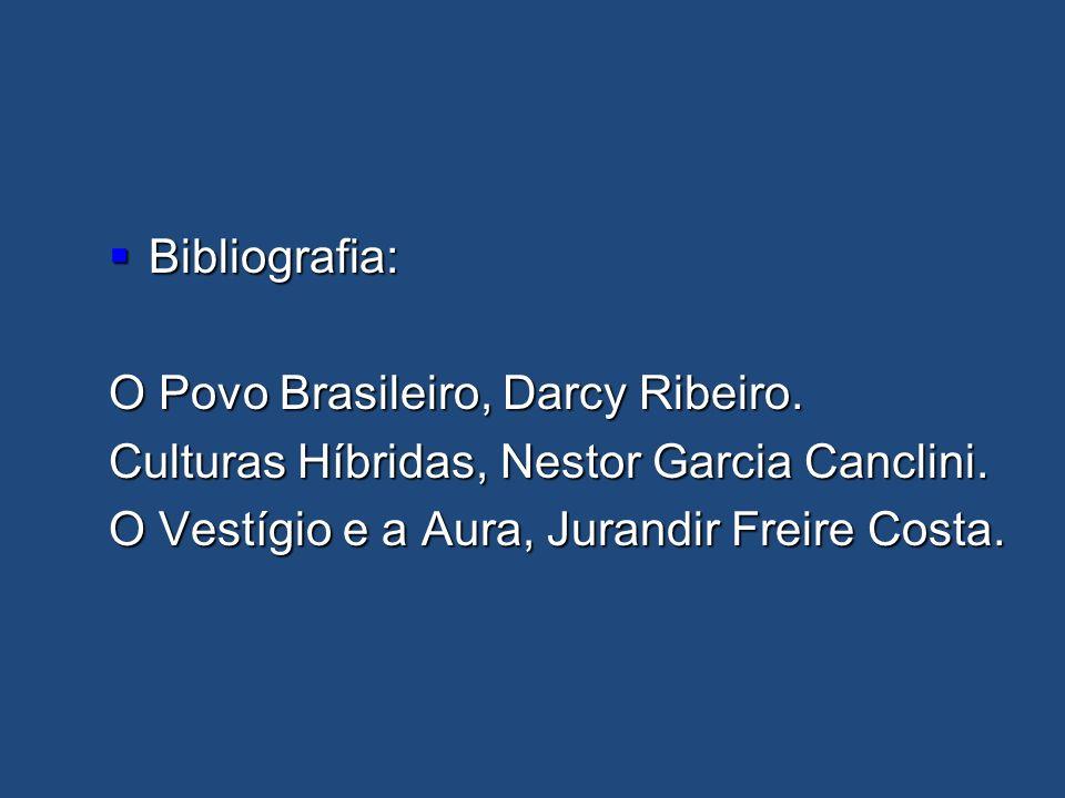 Bibliografia: Bibliografia: O Povo Brasileiro, Darcy Ribeiro. Culturas Híbridas, Nestor Garcia Canclini. O Vestígio e a Aura, Jurandir Freire Costa.