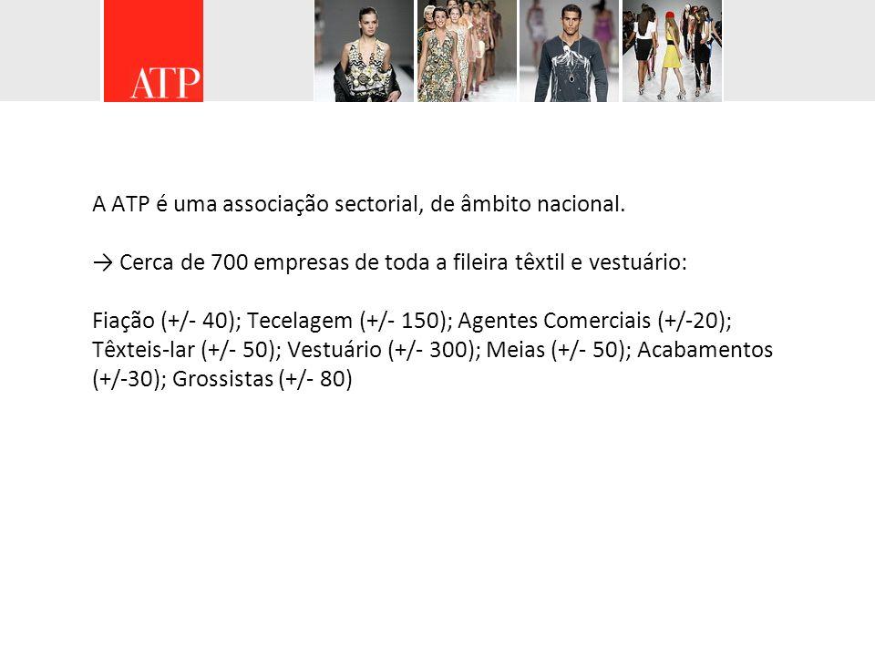 A ATP é uma associação sectorial, de âmbito nacional. Cerca de 700 empresas de toda a fileira têxtil e vestuário: Fiação (+/- 40); Tecelagem (+/- 150)