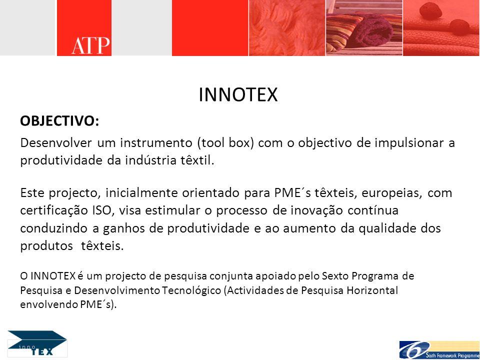 INNOTEX OBJECTIVO: Desenvolver um instrumento (tool box) com o objectivo de impulsionar a produtividade da indústria têxtil. Este projecto, inicialmen