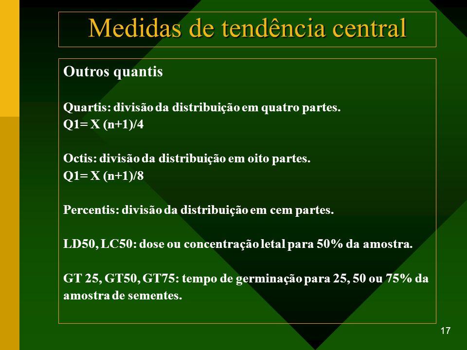 17 Outros quantis Quartis: divisão da distribuição em quatro partes. Q1= X (n+1)/4 Octis: divisão da distribuição em oito partes. Q1= X (n+1)/8 Percen