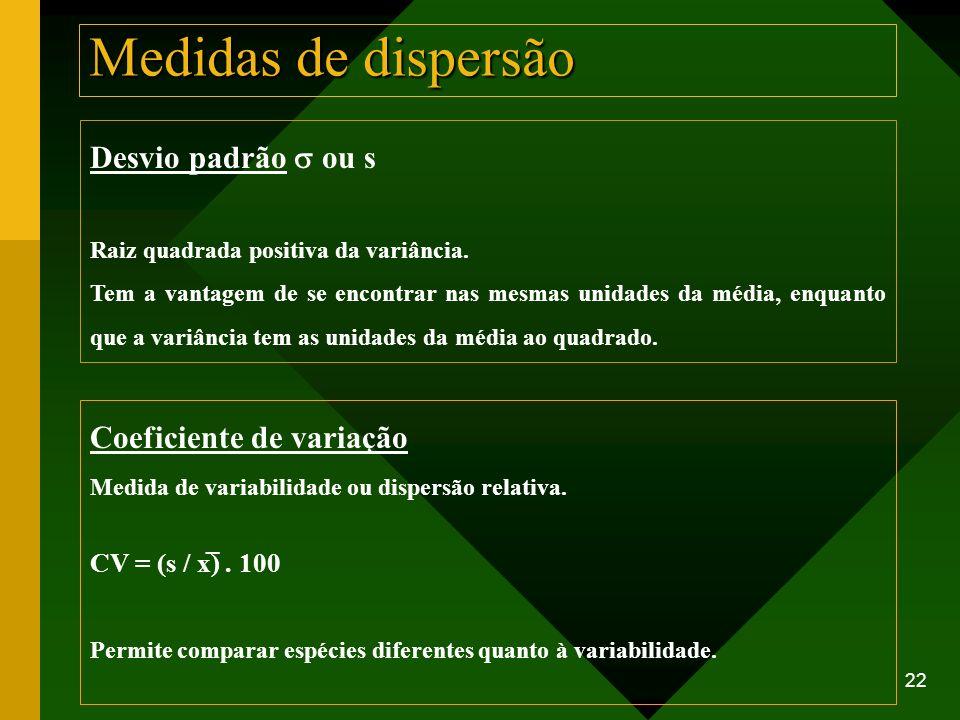22 Medidas de dispersão Desvio padrão ou s Raiz quadrada positiva da variância. Tem a vantagem de se encontrar nas mesmas unidades da média, enquanto