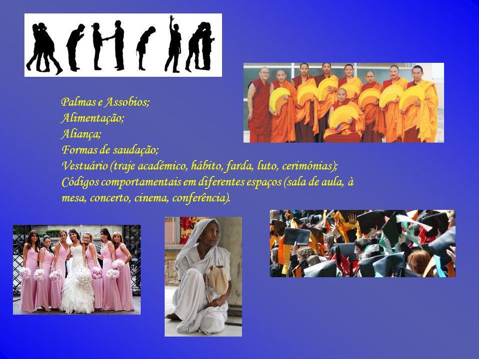 Palmas e Assobios; Alimentação; Aliança; Formas de saudação; Vestuário (traje académico, hábito, farda, luto, cerimónias); Códigos comportamentais em