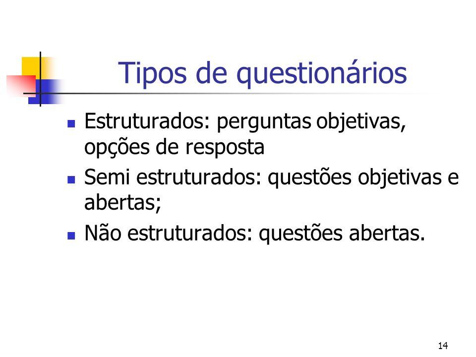 14 Tipos de questionários Estruturados: perguntas objetivas, opções de resposta Semi estruturados: questões objetivas e abertas; Não estruturados: que