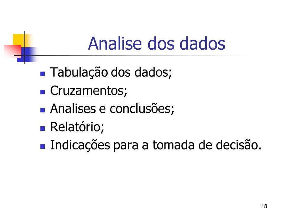 18 Analise dos dados Tabulação dos dados; Cruzamentos; Analises e conclusões; Relatório; Indicações para a tomada de decisão.