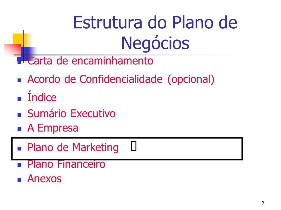 2 Estrutura do Plano de Negócios Carta de encaminhamento Acordo de Confidencialidade (opcional) Índice Sumário Executivo A Empresa Plano de Marketing