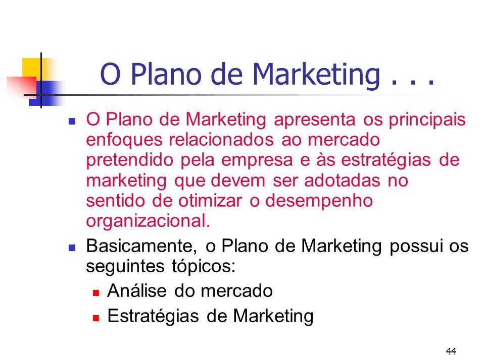 44 O Plano de Marketing... O Plano de Marketing apresenta os principais enfoques relacionados ao mercado pretendido pela empresa e às estratégias de m