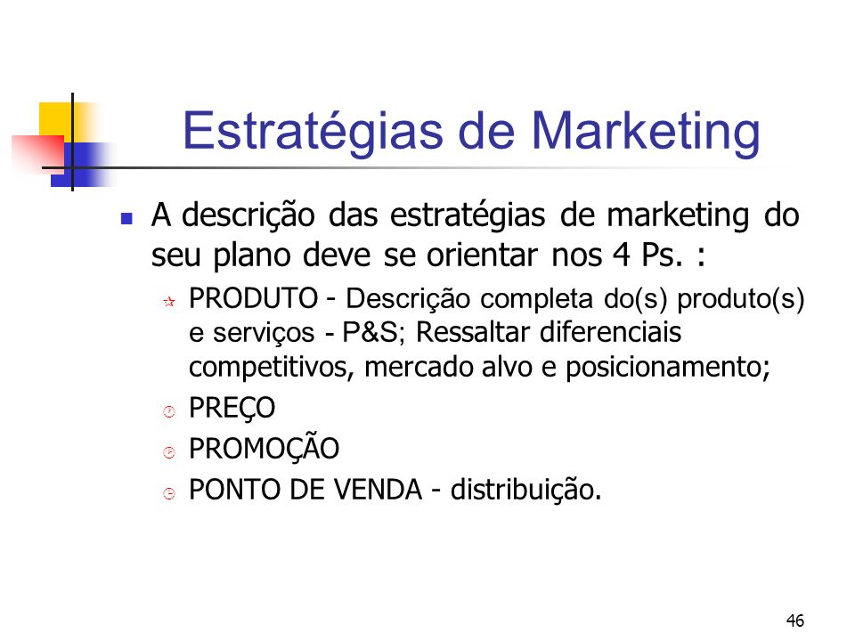46 Estratégias de Marketing A descrição das estratégias de marketing do seu plano deve se orientar nos 4 Ps. : PRODUTO - Descrição completa do(s) prod