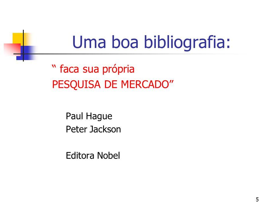 5 Uma boa bibliografia: faca sua própria PESQUISA DE MERCADO Paul Hague Peter Jackson Editora Nobel