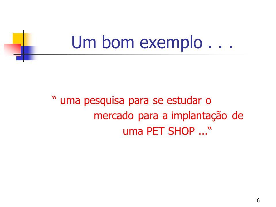 6 Um bom exemplo... uma pesquisa para se estudar o mercado para a implantação de uma PET SHOP...
