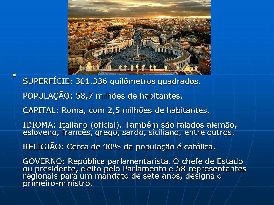 SUPERFÍCIE: 301.336 quilômetros quadrados. POPULAÇÃO: 58,7 milhões de habitantes. CAPITAL: Roma, com 2,5 milhões de habitantes. IDIOMA: Italiano (ofic