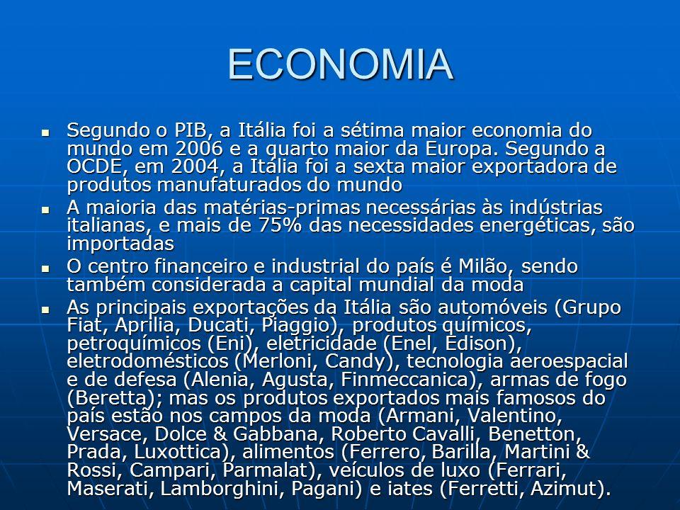 ECONOMIA Segundo o PIB, a Itália foi a sétima maior economia do mundo em 2006 e a quarto maior da Europa. Segundo a OCDE, em 2004, a Itália foi a sext