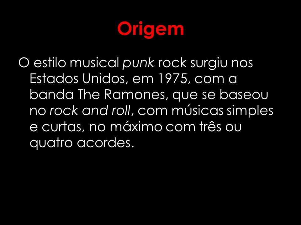 Origem O estilo musical punk rock surgiu nos Estados Unidos, em 1975, com a banda The Ramones, que se baseou no rock and roll, com músicas simples e c