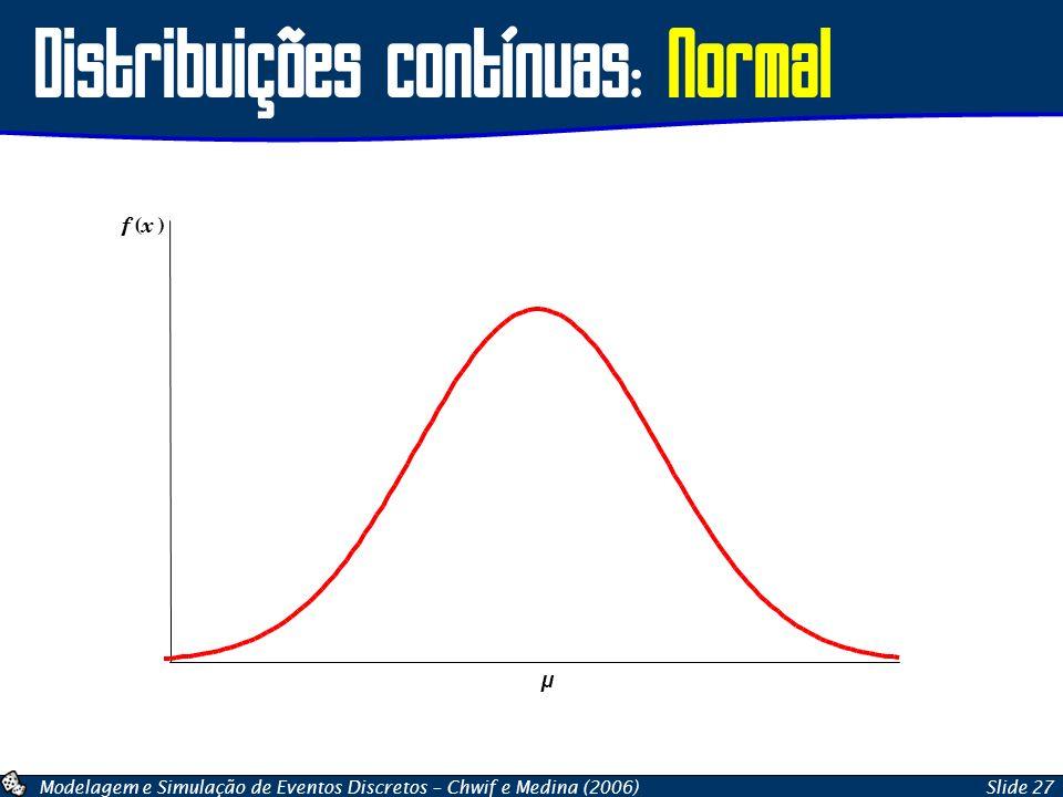 Modelagem e Simulação de Eventos Discretos – Chwif e Medina (2006)Slide 27 Distribuições contínuas: Normal f ( x ) µ