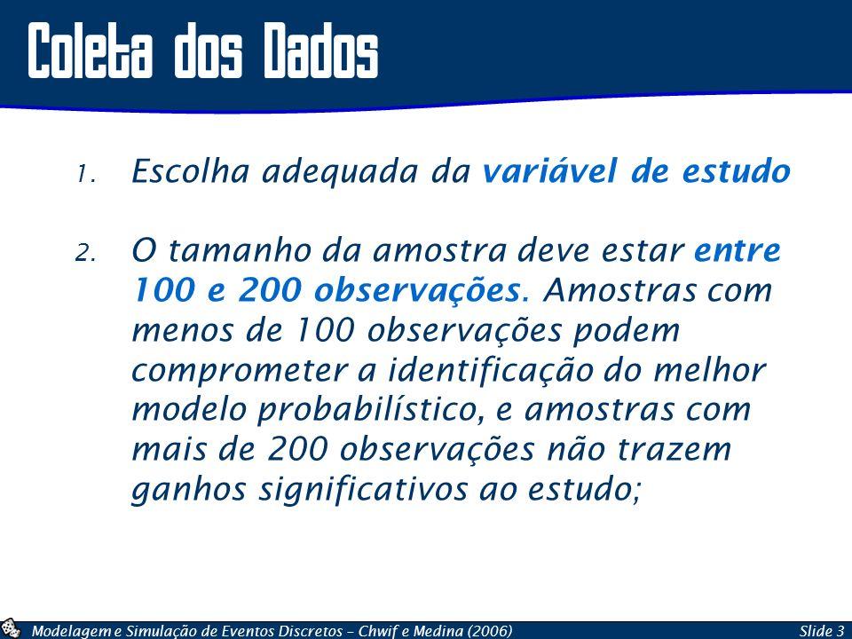 Modelagem e Simulação de Eventos Discretos – Chwif e Medina (2006)Slide 3 1. Escolha adequada da variável de estudo 2. O tamanho da amostra deve estar