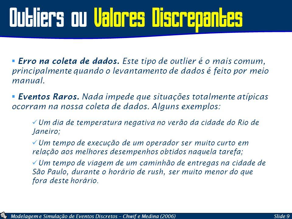 Modelagem e Simulação de Eventos Discretos – Chwif e Medina (2006)Slide 9 Outliers ou Valores Discrepantes Erro na coleta de dados. Este tipo de outli