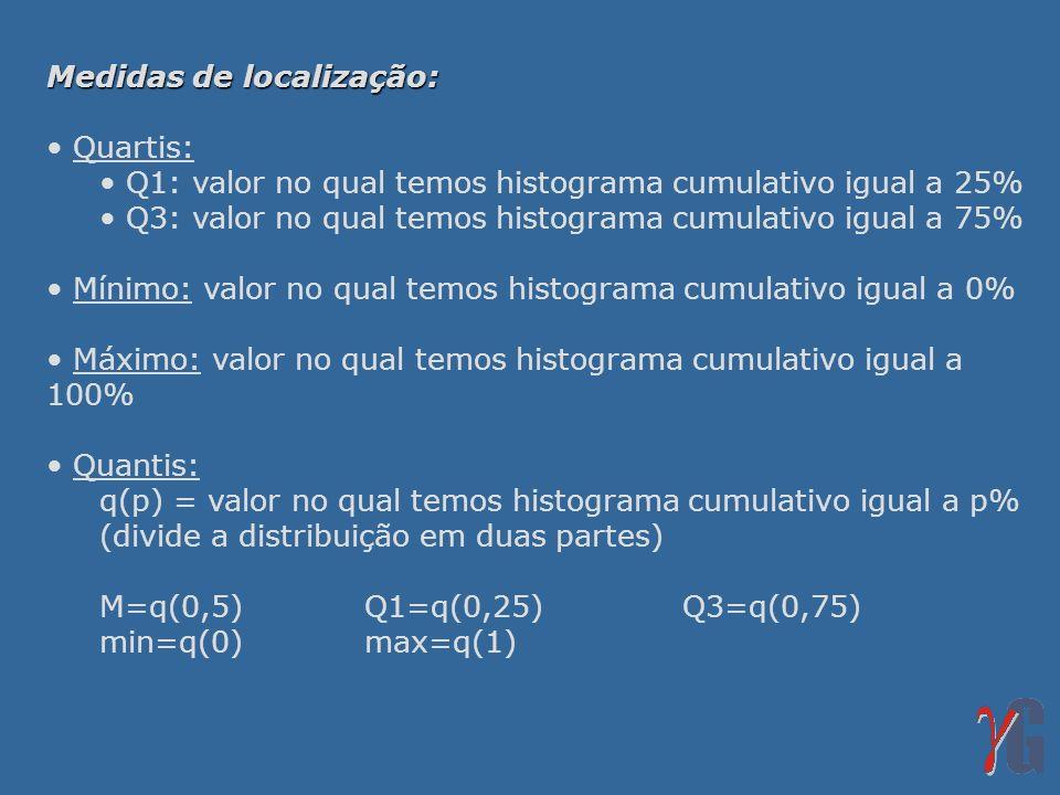 Medidas de localização: Quartis: Q1: valor no qual temos histograma cumulativo igual a 25% Q3: valor no qual temos histograma cumulativo igual a 75% M
