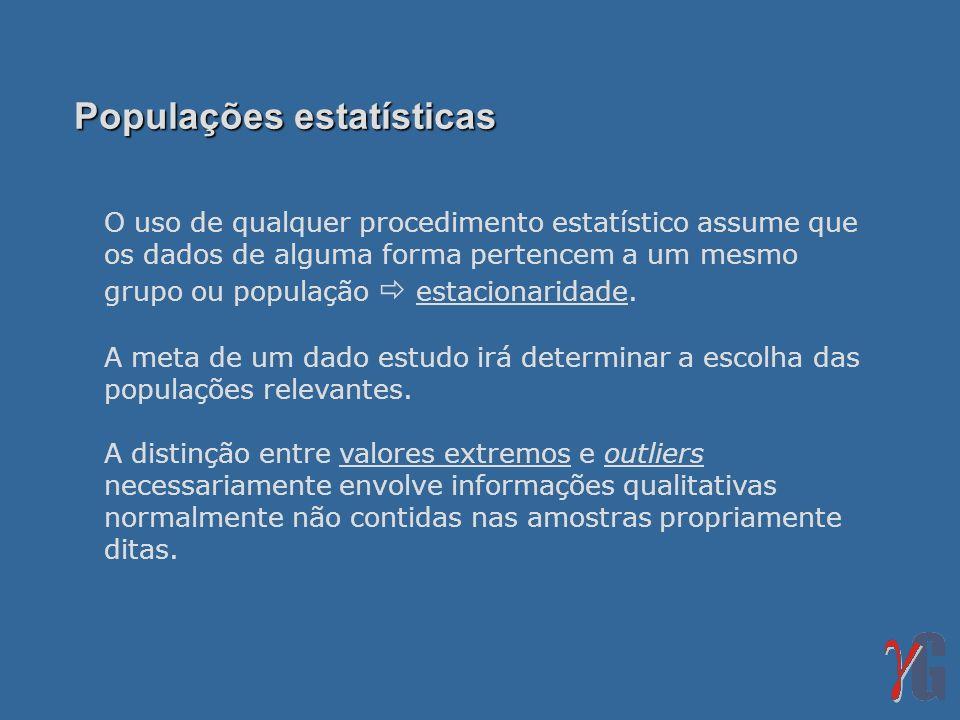 O uso de qualquer procedimento estatístico assume que os dados de alguma forma pertencem a um mesmo grupo ou população estacionaridade. A meta de um d