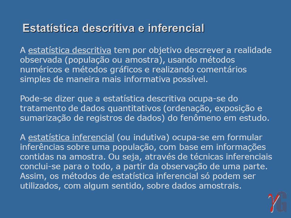 A estatística descritiva tem por objetivo descrever a realidade observada (população ou amostra), usando métodos numéricos e métodos gráficos e realiz