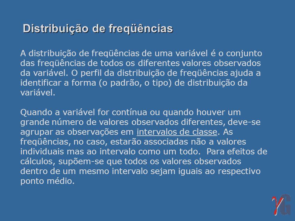 Distribuição de freqüências A distribuição de freqüências de uma variável é o conjunto das freqüências de todos os diferentes valores observados da va