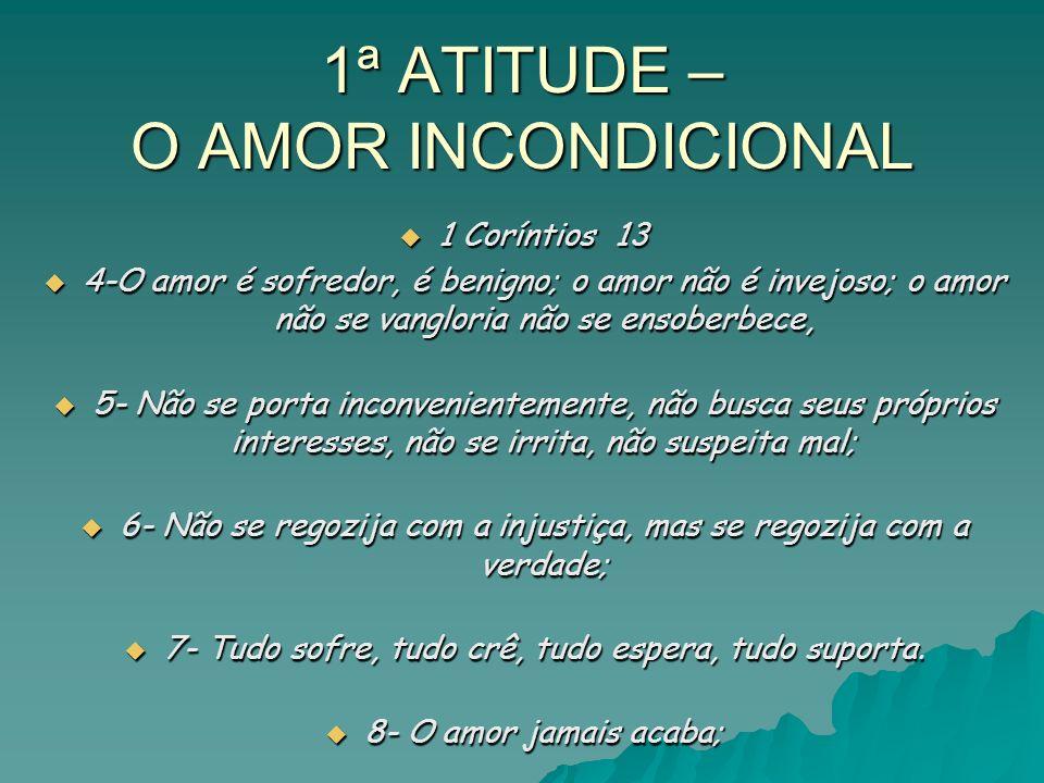1ª ATITUDE – O AMOR INCONDICIONAL 1 Coríntios 13 1 Coríntios 13 4-O amor é sofredor, é benigno; o amor não é invejoso; o amor não se vangloria não se ensoberbece, 4-O amor é sofredor, é benigno; o amor não é invejoso; o amor não se vangloria não se ensoberbece, 5- Não se porta inconvenientemente, não busca seus próprios interesses, não se irrita, não suspeita mal; 5- Não se porta inconvenientemente, não busca seus próprios interesses, não se irrita, não suspeita mal; 6- Não se regozija com a injustiça, mas se regozija com a verdade; 6- Não se regozija com a injustiça, mas se regozija com a verdade; 7- Tudo sofre, tudo crê, tudo espera, tudo suporta.