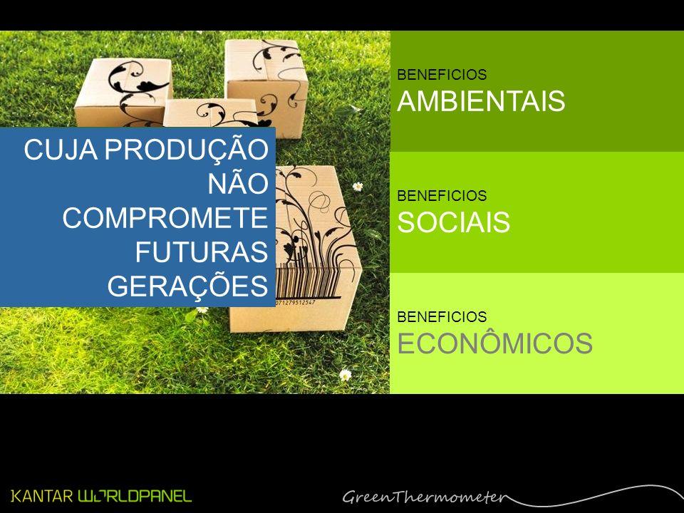 EM TRÊS PALAVRAS: UM PRODUTO SUSTENTÁVEL CUJA PRODUÇÃO NÃO COMPROMETE FUTURAS GERAÇÕES BENEFICIOS AMBIENTAIS BENEFICIOS SOCIAIS BENEFICIOS ECONÔMICOS