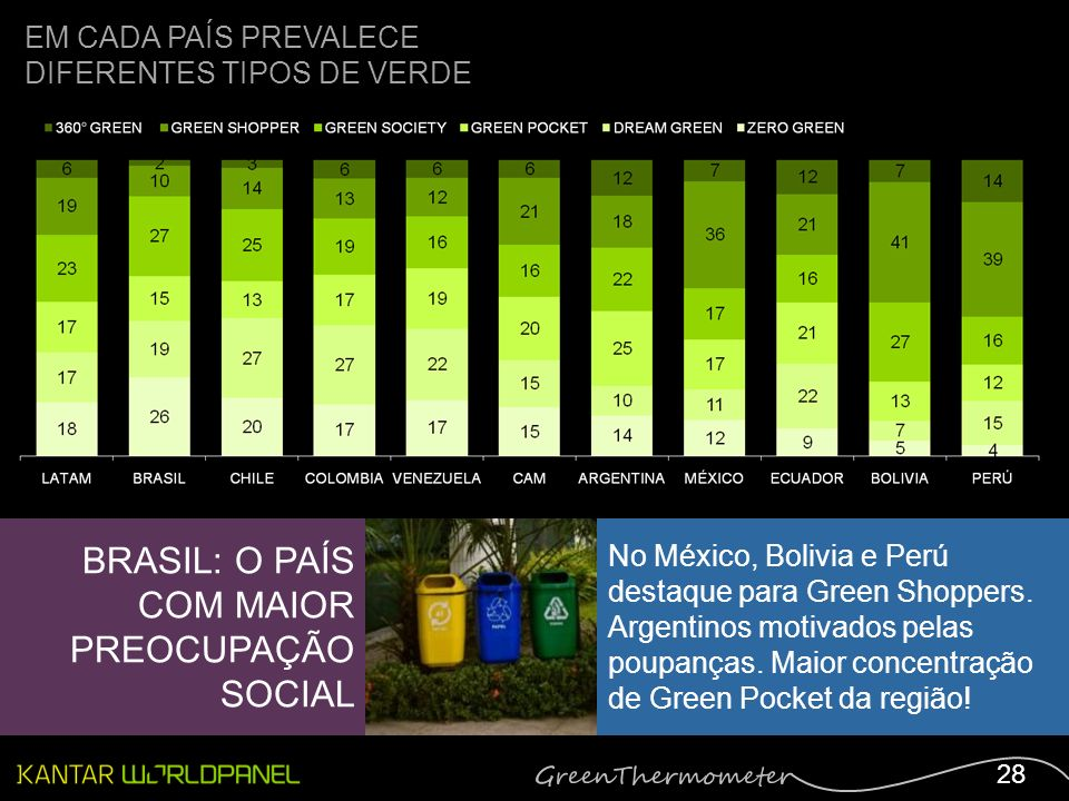 28 EM CADA PAÍS PREVALECE DIFERENTES TIPOS DE VERDE BRASIL: O PAÍS COM MAIOR PREOCUPAÇÃO SOCIAL No México, Bolivia e Perú destaque para Green Shoppers.