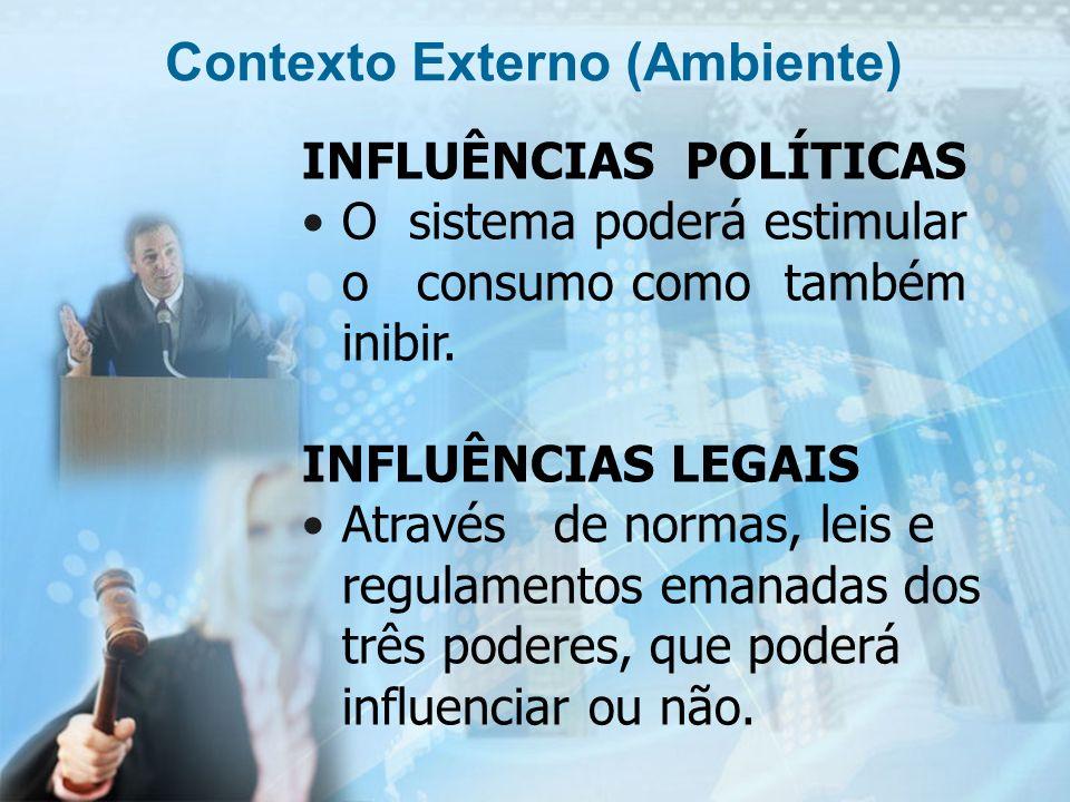 11 INFLUÊNCIAS POLÍTICAS O sistema poderá estimular o consumo como também inibir. INFLUÊNCIAS LEGAIS Através de normas, leis e regulamentos emanadas d