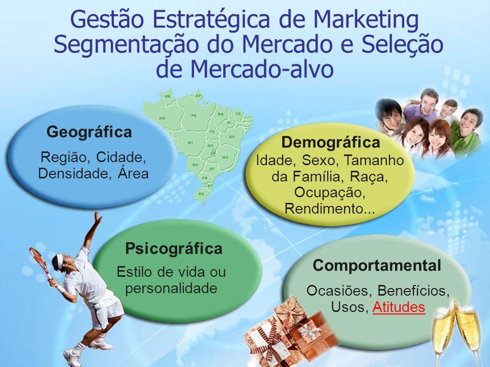 12 Gestão Estratégica de Marketing Segmentação do Mercado e Seleção de Mercado-alvo Ocasiões, Benefícios, Usos, AtitudesAtitudes Comportamental Demogr