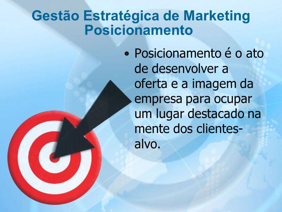 14 Posicionamento é o ato de desenvolver a oferta e a imagem da empresa para ocupar um lugar destacado na mente dos clientes- alvo. Gestão Estratégica