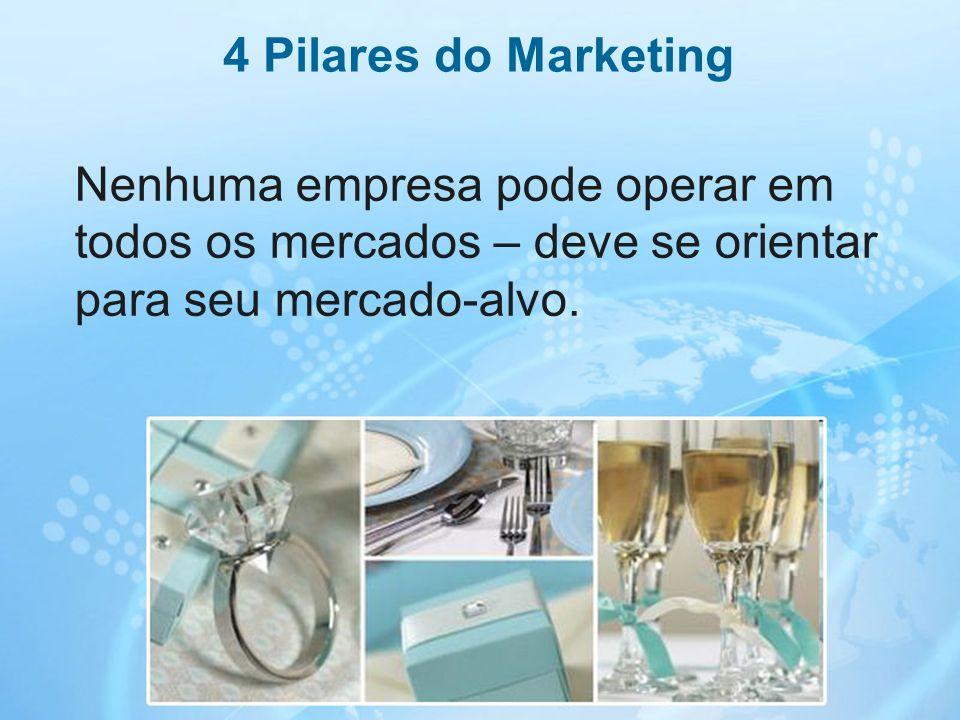 18 Nenhuma empresa pode operar em todos os mercados – deve se orientar para seu mercado-alvo. 4 Pilares do Marketing