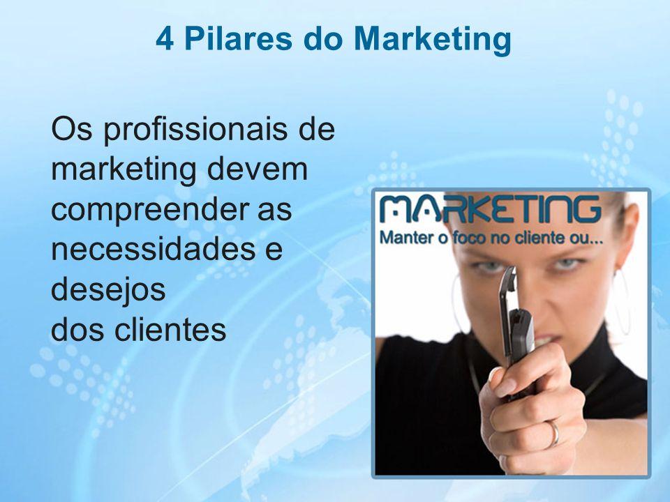 19 Os profissionais de marketing devem compreender as necessidades e desejos dos clientes 4 Pilares do Marketing