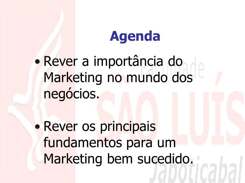 2 Agenda Rever a importância do Marketing no mundo dos negócios. Rever os principais fundamentos para um Marketing bem sucedido.